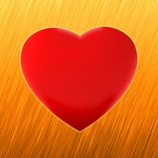 Free Red Heart On Orange Brushed Metal. EPS 8 Royalty Free Stock Images - 19130119