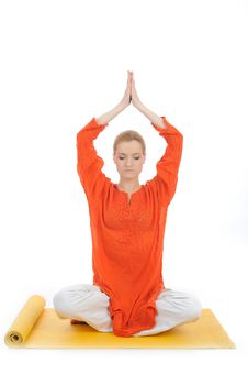Series Or Yoga Photos. Woman Meditating Stock Photos