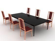 Free Six Wooden Chairs And Black Table Stock Photography - 19132282