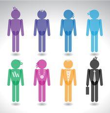 Free Colorful Men Silhouettes Stock Photo - 19132520