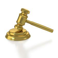 Free Golden Judge S Gavel On White Background Stock Photography - 19133122