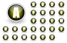 Alphabet Yellow Button Set Stock Photo