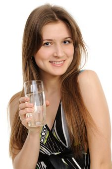 Free Young Woman With Glass Of Water Royalty Free Stock Photography - 19133267