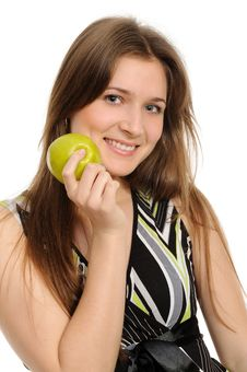 Free Woman Holding A  Green Apple Stock Image - 19133291