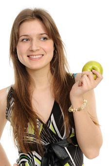 Free Woman Holding A  Green Apple Stock Photo - 19133300