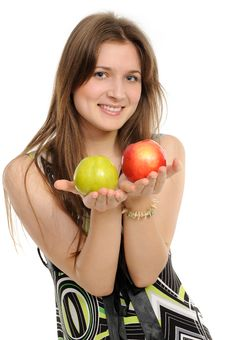Free Woman Holding Two Apples Stock Photo - 19133330
