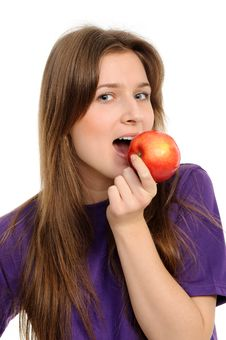 Free Young Woman Holding A Red Apple Stock Photo - 19133340