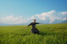 Free Girl On Green Field Stock Images - 19133354