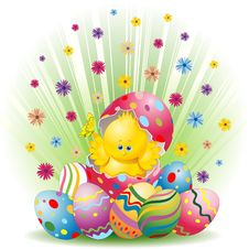 Free Easter Chick And Eggs Background Royalty Free Stock Photos - 19133958