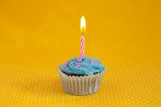 Free Delicious Birthday Cupcake With Candles Royalty Free Stock Image - 19134156