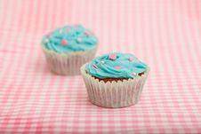 Free Delicious Blue Birthday Cupcake Royalty Free Stock Photo - 19134165