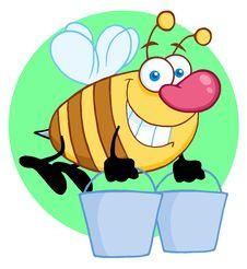 Free Happy Honey Bee Flying With A Buckets Stock Photos - 19134473