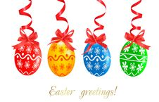 Free Colorful Easter Eggs With Red Ribbons. Stock Image - 19136121