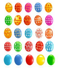 Free Big Set With Colorful Easter Eggs. Vector Stock Photography - 19136132