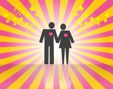 Couple On Pink Stock Photo