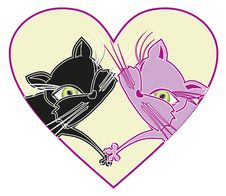 Cats In Love. Vector Illustration Stock Image
