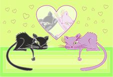 Free Cats In Love. Vector Illustration Royalty Free Stock Photos - 19136988