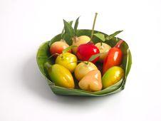 Deletable Imitation Fruits On Banana Leaf Stock Photography