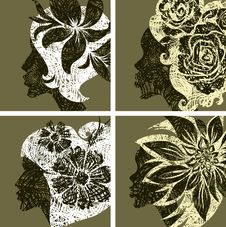 Free Vector Set Of Grunge Vintage Girls Hair Royalty Free Stock Photography - 19137937