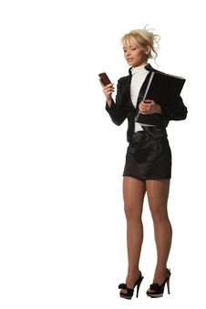 Free Businesswoman With A File Speak Phone Royalty Free Stock Photography - 19138647