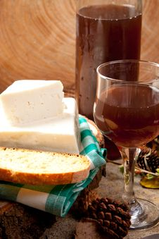 Free White Cheese And Rose Wine Stock Photo - 19139200
