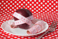 Free Red Apple And Measuring Tape On A White Plate Stock Photography - 19144242