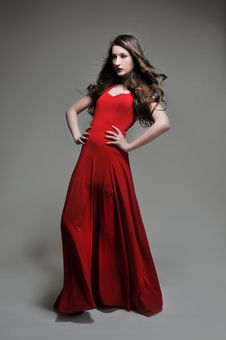 Free Woman Posing In Red Dress Stock Photography - 19140392