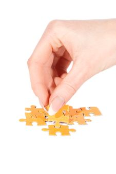 Free Putting Right Piece In Puzzle Stock Photo - 19140590