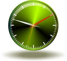 Green Button Time Stock Image