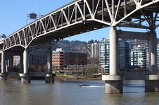 The I-5 Overpass & The Willamette River Royalty Free Stock Image