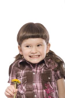 Little Girl With Yellow Flower Stock Photo