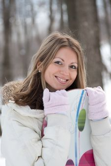 Woman With Snowboard Royalty Free Stock Photos