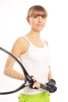 Free Young Female Tennis-player Stock Image - 19142921