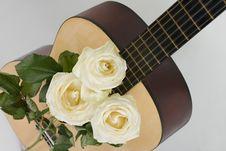 Free White Roses, Guitar Royalty Free Stock Image - 19143036