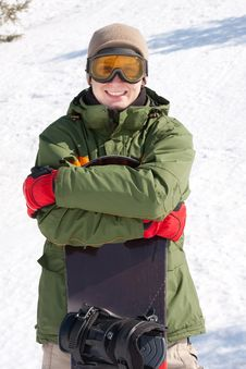 Free Young Man With Snowboard Royalty Free Stock Images - 19143219