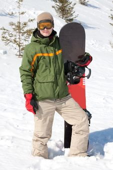Free Man With Snowboard Stock Photography - 19143252