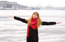 Happy Girl With Red Hair In The Red Scarf Royalty Free Stock Image