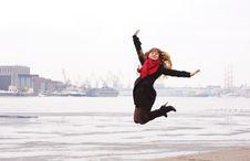 Free Happy Woman Jumping Royalty Free Stock Photo - 19143435