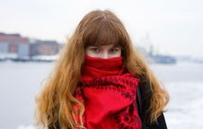 Girl With Green Eyes In The Red Scarf Royalty Free Stock Image