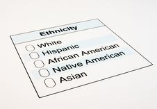 Free US Ethnicity Form Stock Images - 19144144