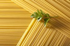 Raw Spaghetti With Parsley Stock Image