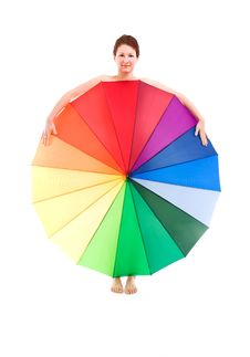 Free Girl Wit Umbrella Royalty Free Stock Image - 19146126