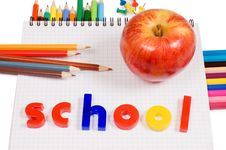 Free Pencils And Apple - Concept School Stock Photos - 19148153