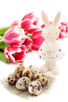 Free Easter Rabbit With Quail Eggs And Tulips Stock Image - 19148481