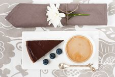Free Chocolate Tart And A Cup Of Coffee Stock Photography - 19148492