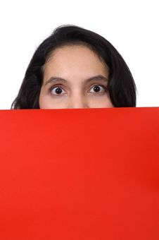 Free Woman Show Red Paper Stock Images - 19149764