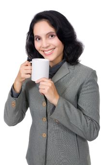 Free Mixed Race Woman Drink Coffee Royalty Free Stock Photo - 19149785