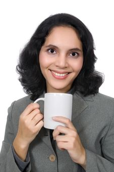 Free Mixed Race Woman Drink Coffee Royalty Free Stock Image - 19149806