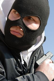 Free Killer In Black Mask Waiting For His Victim Stock Photos - 19149903