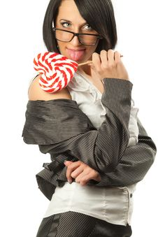 Free Sexy Woman Licking Heart Shaped Lollipop Stock Photos - 19150413